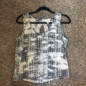Parker 100% silk black and white backless top
